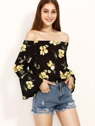 Designer Clothes, Shoes & Bags for Women Sheer Blouse, Floral Blouse, Loose Tops, Blouse Online, Long Sleeve Tops, Floral Tops, Fashion Looks, Street Style, Boat Neck