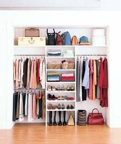 Basics - rod for coats & dresses, 2-level rods for shirts & skirts, shelves for shoes and bags, luggage on top
