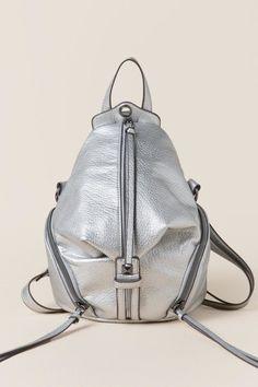 Christina Metallic Front Zip Mini Backpack