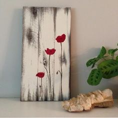 Poppy painting on reclaimed wood - Wood Art Diy Wand, Pallet Painting, Painting On Wood, Wood Paintings, Pallet Crafts, Diy Crafts, Diy Pallet, Pallet Ideas, Barn Wood Crafts