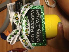 100 reasons why I love you boyfriend gift. Mason jar and tractor ribbon