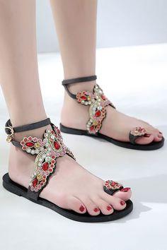 5064a5e46 Women Black Rhinestone Toe Ring Flat Sandals - 6