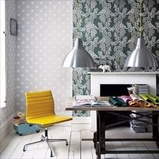 Office with fireplace and wallpaper
