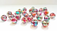 Fun and Funky Multicolored Silver Glass Beads!!  12mm Round Beads.  25 Beads.  Pretty and Unique!!  Great Beads At Great Prices!! by FunkyCreativeJuices on Etsy