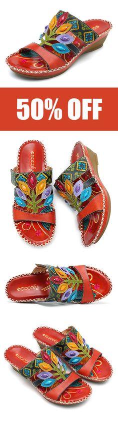 b2b750370 SOCOFY Bohemian Handmade Genuine Leather Shoe Hook Loop Soft Sandals.  women   shoes