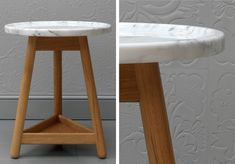 Carve side table with white carrara marble top by Gray and Turner with leather panels by Genevieve Bennett http://www.genevievebennett.com/
