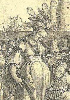 "Detail from ""Solomon worships the idol"", Lucas van Leyden 1514"