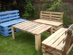 salon de jardin-first try for a garden set #Garden, #Pallets, #Table