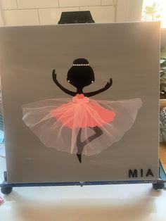 Ballerina Painting, Ballerina Art, Ballerina Slippers, Hand Painted Canvas, Diy Canvas Art, Princess Crafts, Stars Craft, Baby Wall Art, Art N Craft