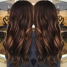 dark brown hair with caramel babylights: