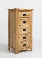WESTBURY Reclaimed Oak 5 Drawer Wellington Chest Of Drawers