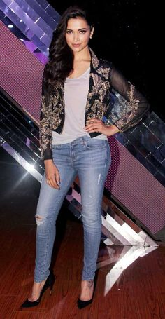Deepika Padukone was hot in a grey tee shirt, Falguni and Shane Peacock embellished jacket with skinny jeans and Louboutins on 'India's Raw Star