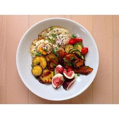 Since its morning time for many of you, I'll start us off with a lovely breakfast bowl. My favorite meal of the day! This one has two fried free range eggs sprinkled with fresh thyme (so good), sautéed cherry tomatoes and zucchini, grilled white sweet potato and Japanese pumpkin (or kabocha squash) and a side of cut fresh figs. Cook with your favorite Whole30 approved fat. Salt, black pepper, a bit of chopped scallion, done.  So gorgeous right? Hard to have a bad day after noshing on this…