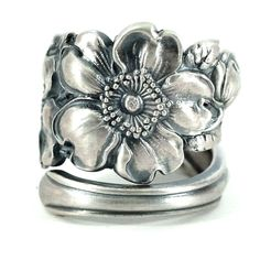 Silver Rose Ring Sterling Silver Spoon Ring Wild Rose by Spoonier