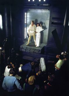 Crew filming Mark Hamill and Carrie Fisher on the Death Star chasm set.