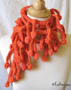 Orange Crochet Bobbles Lariat Scarf