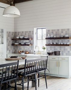 pale mint green cabinets, blue tile and shiplap walls in the kitchen | eclectic farmhouse tour on coco kelley