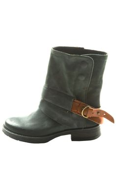 Leather Buckle Booties