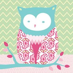 """""""Forest Owl"""" kids wall decor by Annette Tatum for Oopsy daisy, Fine Art for Kids $69"""