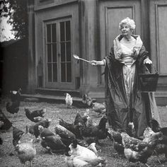 "Get your ballgowns ladies it time to feel the chickens!   ""Deborah Vivien Cavendish Duchess of Devonshire feeding her beloved chickens in a ball gown -- the Cavendish family were prominent members of English society in the 1930s and 1940s. The Duchess remained the public face of the Chatsworth estate in Derbyshire for most of her life."""