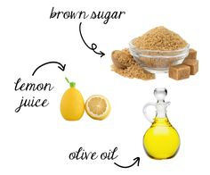 I combine one cup of olive oil, one cup of brown sugar, and two tablespoons of lemon juice in a bowl  Homemade leg exfoliant using only three ingredients from your kitchen! Plus other tips on how to get silky smooth legs.