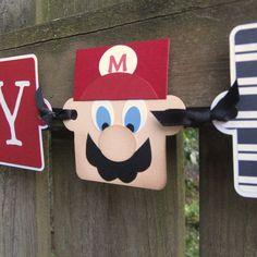 Baby Mario Birthday Banner  It's Mario Time  by ElvesInTheAttic, $29.95