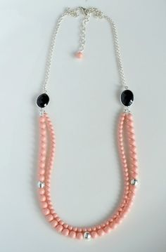 Beautiful Black Onyx & Swarovski pink coral pearl necklace.