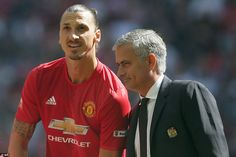 Mourinho (right) picked Ibrahimovic in his starting line-up; the Swede was making his comp...