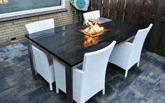 Vuurtafel op gas RVS tafel en steigerhout met speciale RVS inbouwbrander met piezo ontsteking en vlammen regelaar (bediening op de brander) buitenleveninstijl nl