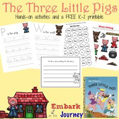Here's a fun collection of snacks and hands-on activities along with a FREE K-2 printable based on The Three Little Pigs. | embarkonthejourney.com