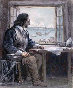 Samuel de Champlain (1574-08-13 – 1635-12-25). Le 3 juillet 1608, cet explorateur débarque à Québec en compagnie d'une trentaine d'ouvriers et y fonde le premier établissement français permanent en Amérique. Il dessine plusieurs cartes de la Nouvelle-France et il est l'auteur de nombreux récits de voyage, dont Voyages de la Nouvelle-France (1632). Image : George Agnew Reid - vers 1908 Bibliothèque et Archives Canada - Domaine public #patrimoine