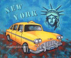 Le taxi jaune tableau déco sur le thème de New York © Marie Paule Ferrari artiste peintre décoratrice