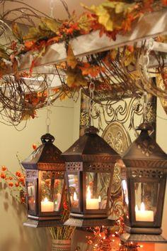 Decorating Lanterns for Fall . 23 Elegant Decorating Lanterns for Fall . Thanksgiving Decorations, Holiday Decor, Seasonal Decor, Vintage Ladder, Antique Ladder, Vibeke Design, Autumn Decorating, Decorating Ideas, Candle Lanterns