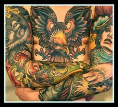 Tattooed guy - eagle chest piece and awesome sleeves. Full Back Tattoos, Full Body Tattoo, Body Tattoos, Life Tattoos, Sleeve Tattoos, Tattoos For Guys, Tattoo Sleeves, Tatoos, Chest Piece Tattoos