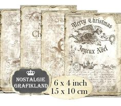 printable Christmas Grunge Ephemera Old Papers Aged Vintage French Noel 6 x 4 inch Instant Download digital collage sheet D221