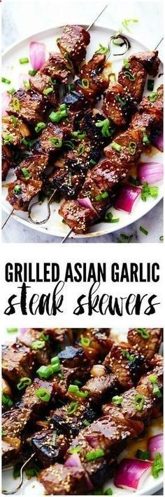 Grilled Asian Garlic Steak Skewers are marinated in a delicious asian sesame sauce and grilled to tender and juicy perfection! Grilled Asian Garlic Steak Skewers are marinated in a delicious asian sesame sauce and grilled to tender and juicy perfection! Healthy Food Recipes, Asian Recipes, Yummy Food, Tasty, Asian Foods, Asian Diet, Chinese Recipes, Chinese Food, Grilling Recipes