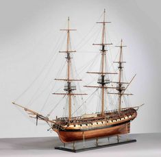 """USS Frigate Essex"" Ship Model, 1799, 1:48 Scale and 61"" long"