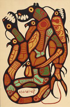 Man Changing into Thunderbird Norval Morrisseau Inuit Kunst, Inuit Art, Native American Artists, Canadian Artists, Native Canadian, Claudia Tremblay, Kunst Der Aborigines, South American Art, Woodland Art