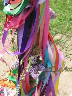 Colorful maypole ribbons