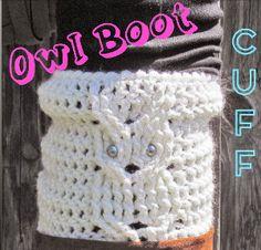 Trendy Owl Boot Cuff | AllFreeCrochet.com