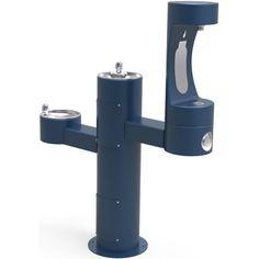"Elkay LK4430BF1M EZH20 14"" Floor Mounted Outdoor Bi-Level Bottle Filler Combo St Blue Drinking Water Solutions Bottle Filler Fountain Combo Cooler"