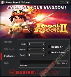 Royal Revolt 2 Cheat / Hack iOS Andorid  Features: - Add Unlimited Gems. - Add Unlimited Gold. - Add Unlimited Food. - Double XP. - No Cooldown.  http://easiergame.net/royal-revolt-2-cheat-tool-hack-tool-download/