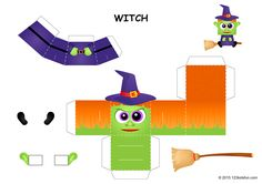 Free Papercraft - Halloween Witch #craft #halloween #forkids #forfree