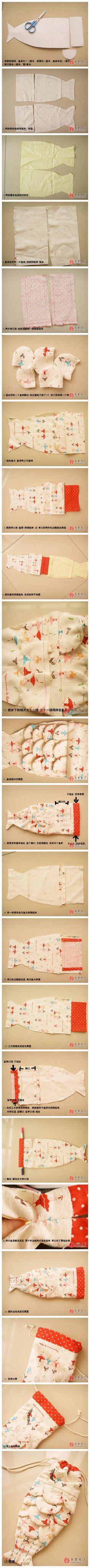 详细得不能再详细了的鱼摆摆束口袋教程,新年的时候可以批量生产送朋友。