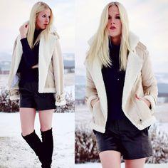 Zara Leather Shorts, Zara Turtleneck Sweater, Zara Over The Knee Boots