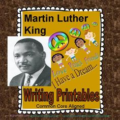 Martin Luther King Jr. NO PREP printables: Mini-book of Martin Luther King's life; photo montages of Martin Luther King Jr. for each child's writing and art; bulletin board-ready writing pieces; poem, poster, word splash.  This Martin Luther King packet focuses on Dr. King's dreams for brotherhood. Thoughtful and creative conversation-starters throughout! Perfect for your whole class or writing center.