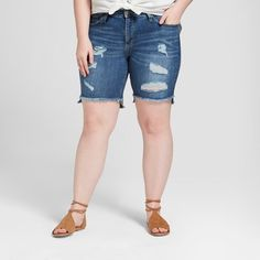 When your sunny day calls for style and comfort, look no further than the Destructed Bermuda Jean Shorts from Universal Thread™. These medium-wash Bermuda shorts are your perfect go-to look — with the raw hem, destructed detailing and high-rise cut, you'll be looking even better than you feel. Better yet, they're made to fit you right, with fabric made to smooth and sculpt and more back-rise coverage to keep your shorts perfectly in place.