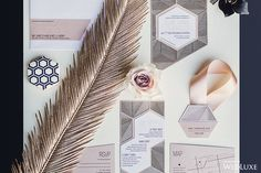 It's incredible how technology, like laser cutting, can perfectly imitate nature's art - like this feather!   Photography By: Dave Abreu Photography   WedLuxe Magazine   #WedLuxe #Wedding #luxury #weddinginspiration #luxurywedding #stationery #stationerysuite #invitation