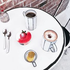 "it all makes sense, as Café got its inspiration from Korean TV hit ""W – Two Worlds"" by Lee Jong-suk and Han Hyo-joo, in which the characters enter a fantasy webtoon world. will make you feel like you walked into a cartoon café. Cafe Interior, Shop Interior Design, Cafe Design, Interior Ideas, Ghost World, Han Hyo Joo, Cafe Seoul, Korean Coffee Shop, Korean Cafe"
