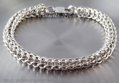 Mens jewelry. Chainmaille mens bracelet in sterling silver.  Full Persian wave by Arctida